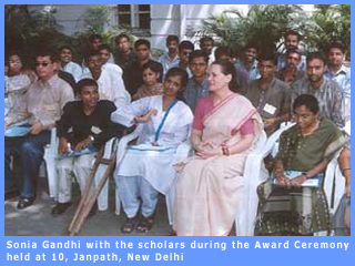 Picture of Sonia Gandhi sitting with the scholars during the Award Ceremony at 10, Janpath, New Delhi