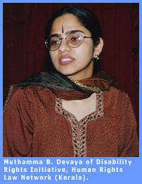 Picture of Muthamma B. Devaya associated with Disability Rights Initiative from H.R.L.N. in Kerala