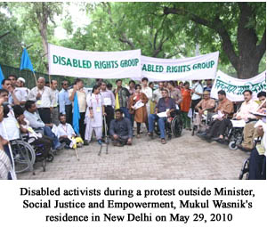 Disabled activists during a protest outside Minister, Social Justice and Empowerment, Mukul Wasnik