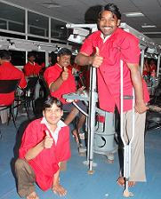 Disabled employees at the Saksham Training Centre
