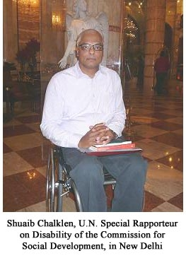 Shuaib Chalklen, U.N. Special Rapporteur on Disability of the Commission for Social Development, in New Delhi